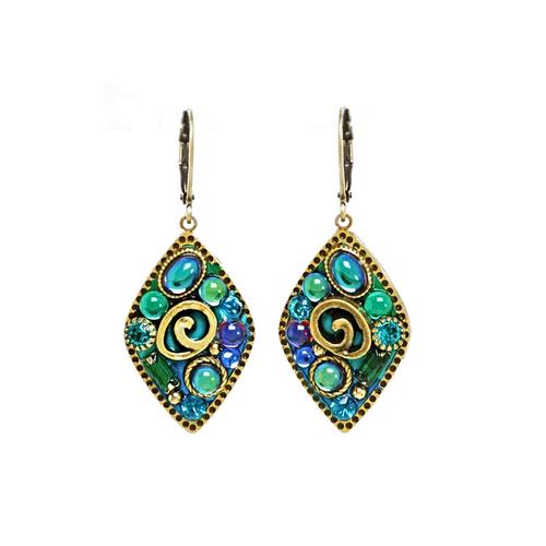 Michal Golan Emerald Diamond Small Diamond Leverback Earrings~S8074