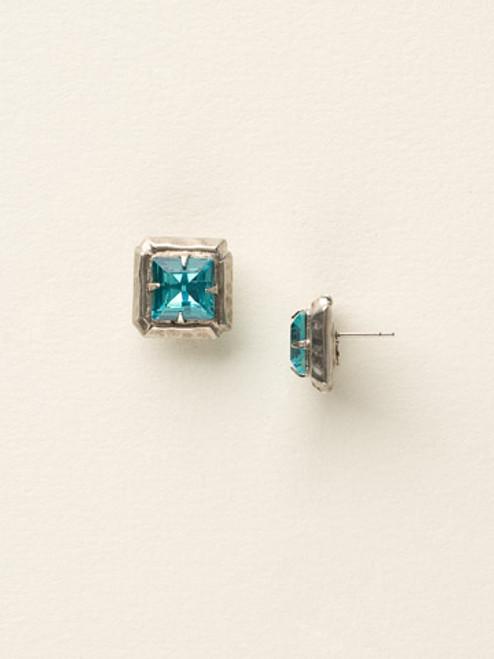 Sorrelli Sea Glass- Hammered Square Post Earrings~ ECY13ASSGL