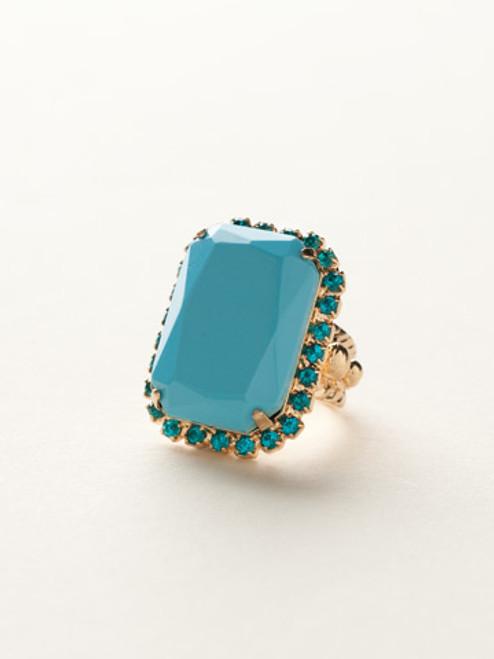 Sorrelli Caribbean Coral- Luxurious Emerald-Cut Cocktail Ring~ RBT69BGCCO