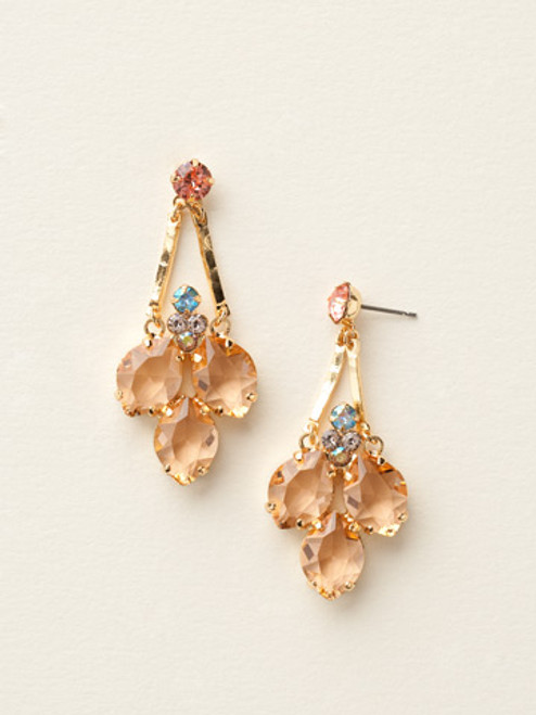 Sorrelli Caribbean Coral- Floral Crystal Cluster Earrings ~ ECY2BGCCO