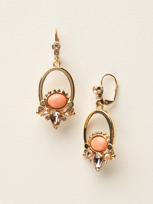 Sorrelli Caribbean Coral- Crystal Cluster Metal French Wire Earrings~ ECY36BGCCO