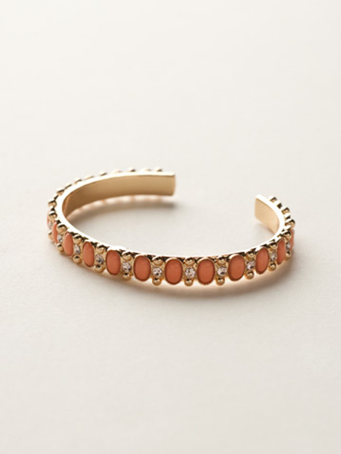 Sorrelli Caribbean Coral- Cabochon and Crystal Petite Cuff Bracelet~ BCY46BGCCO
