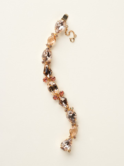Sorrelli Caribbean Coral- Large Multi-Cut Crystal Line Bracelet~ BCY10BGCCO