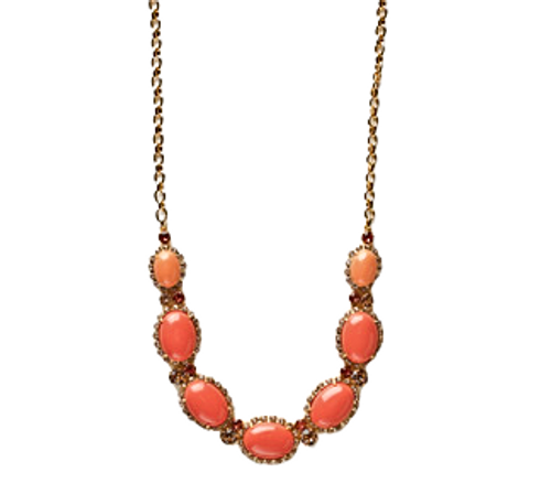 Sorrelli Caribbean Coral- Crystal Encrusted Cabochon Long Strand Necklace~ NCY1BGCCO