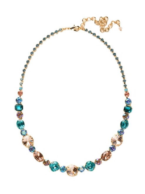 Sorrelli Caribbean Coral- Graduated Classic Tennis Necklace~ NCP38BGCCO