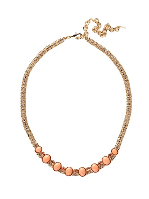 Sorrelli Caribbean Coral- Oval Semi-Precious and Crystal Classic Necklace~ NCY3BGCCO