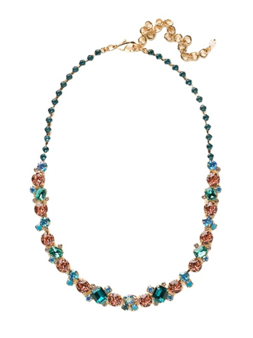 Sorrelli Caribbean Coral- Glittering Multi-Cut Crystal Necklace~ NCF6BGCCO