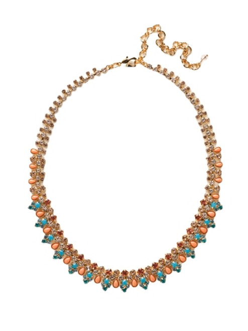 Sorrelli Caribbean Coral- Intricate Crystal Decorative Classic Necklace~ NCY26BGCCO