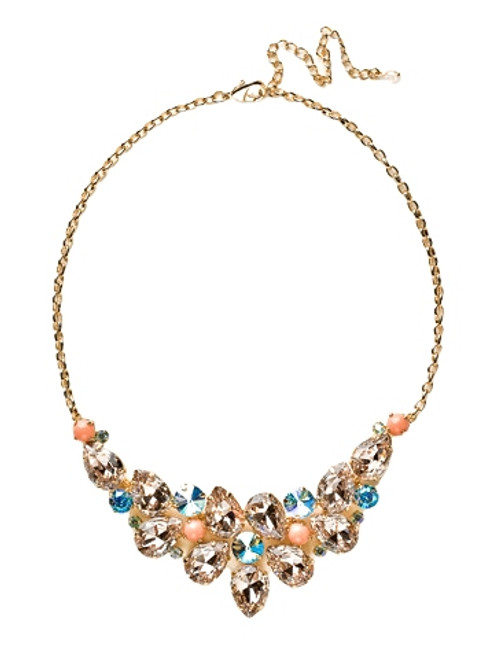 Sorrelli Caribbean Coral- Dare to Pear Crystal Statement Necklace~ NCP3BGCCO