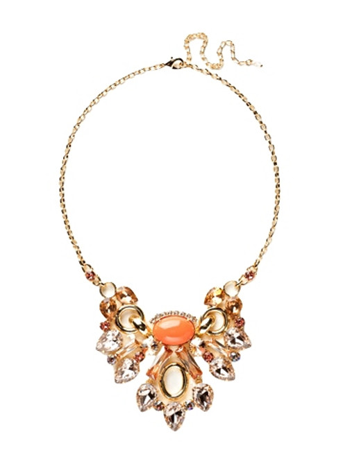 Sorrelli Caribbean Coral- Semi-Precious and Crystal Collage Statement Necklace~ NCY30BGCCO