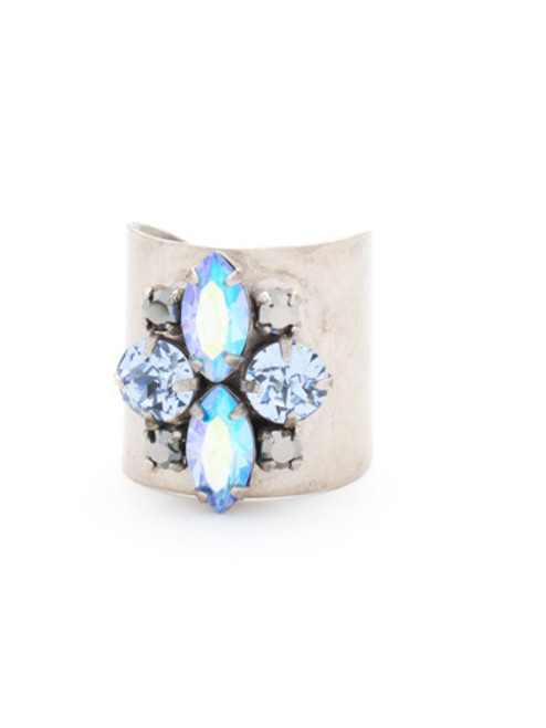 Sorrelli Ice Blue- Flower Navette Cuff Ring~ RCW49ASIB