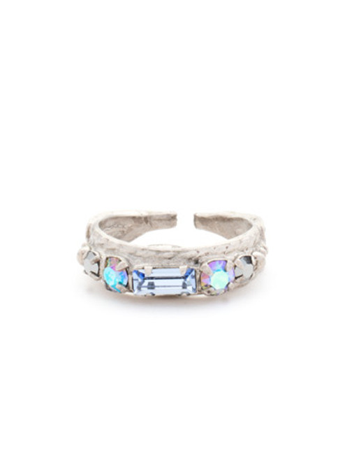 Sorrelli Ice Blue- Petite Stackable Baguette Crystal Ring~ RCT3ASIB