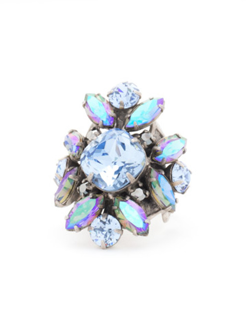 Sorrelli Ice Blue- Floral Crystal Cluster Cocktail Ring~ RCR62ASIB