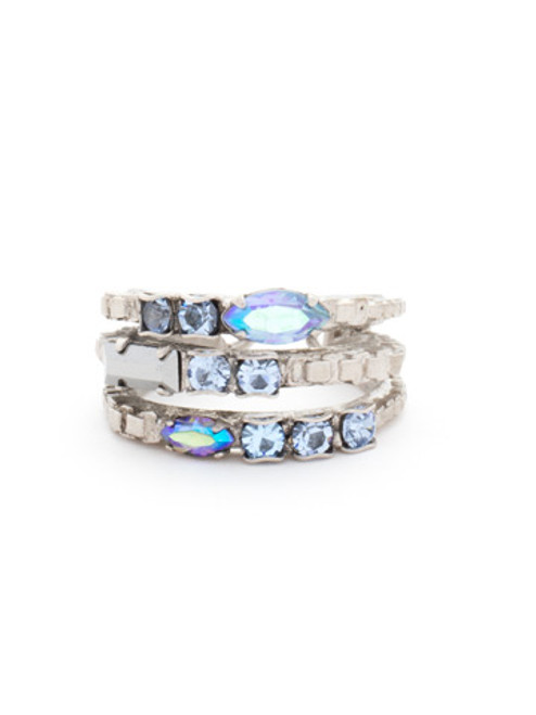 Sorrelli Ice Blue-Triple Stacked Crystal Ring~ RCT29ASIB