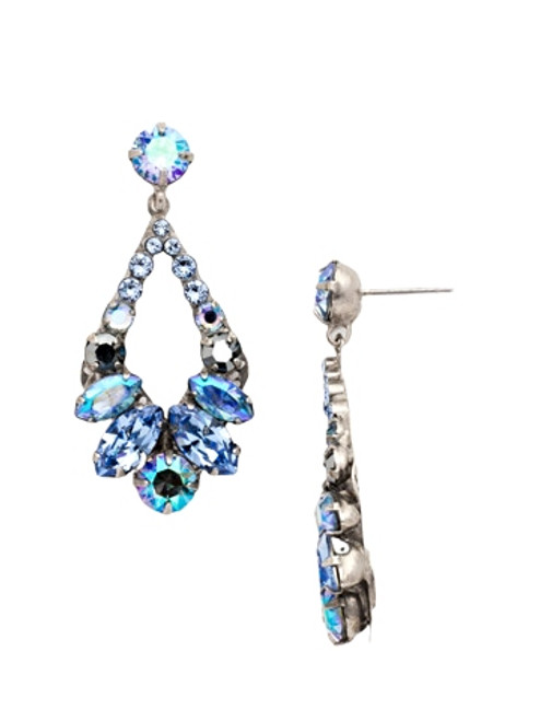 Sorrelli Ice Blue- Navette and Round Crystal Adornment Dangle Earrings~ EDA53ASIB