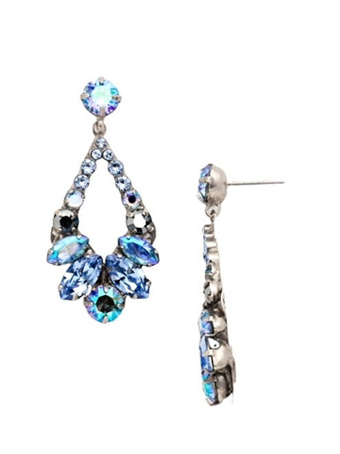 Sorrelli Ice Blue- Navette and Round Crystal Adornment Dangle Earrings~ EDA53ASIB