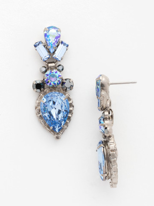 Sorrelli Ice Blue- Curb Chain Accented Pear Crystal Dangle Earrings~ ECW37ASIB