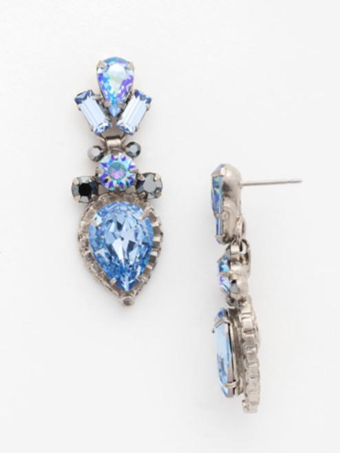 Sorrelli Ice Blue- Curb Chain Accented Pear Crystal Dangle Earrings~ ECW37ASIB