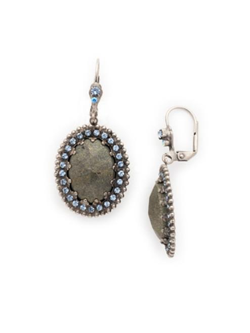 Sorrelli Ice Blue-Cabochon Crown Bezel Drop Dangle Earrings~ ECU32ASIB