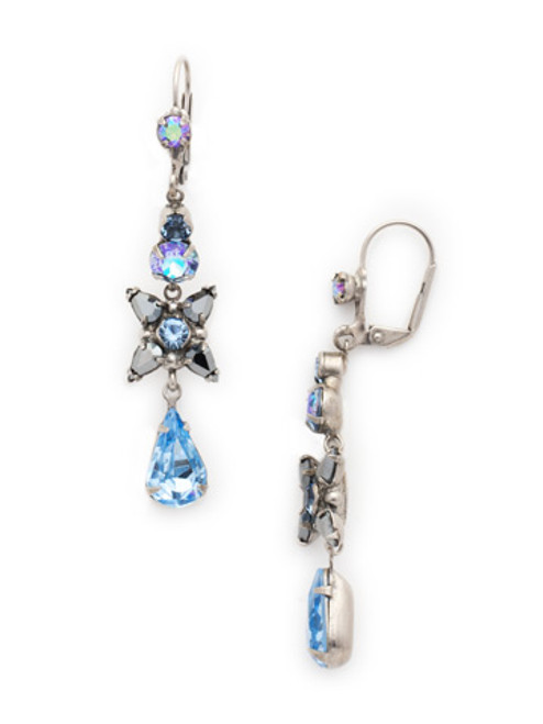 Sorrelli Ice Blue-Delicate Flower Crystal Drop French Wire Earrings~ ECR30ASIB