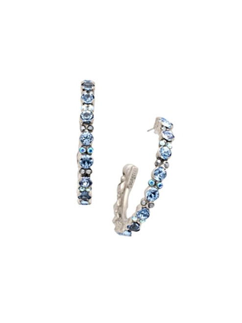 Sorrelli Ice Blue- Prongless Crystal Hoop Earrings~ ECR107ASIB