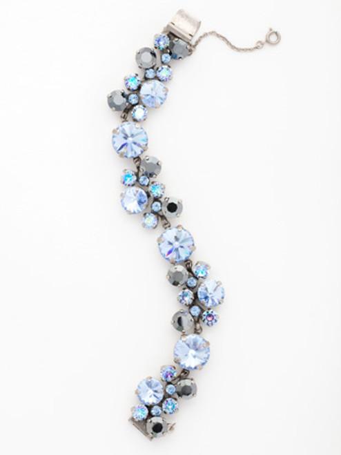 Sorrelli Ice Blue-Circular Crystal Cluster Line Bracelet~ BCW10ASIB