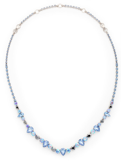 Sorrelli Ice Blue- Pear and Round Cut Crystal Necklace~ NCR19ASIB