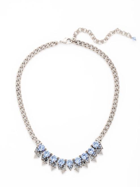 Sorrelli Ice Blue- Crystal and Metal Spike Necklace~ NCW18ASIB