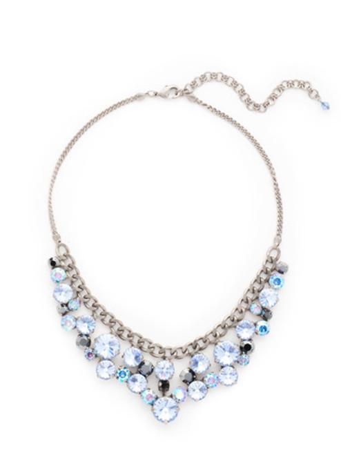 Sorrelli Ice Blue- Round Crystal Cluster Bib Necklace~ NCW10ASIB