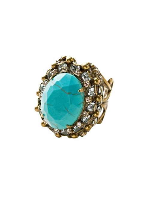 Sorrelli Azure Allure-Scalloped Edge Crystal Encrusted Oval Cocktail Ring~ RCU4AGAZ
