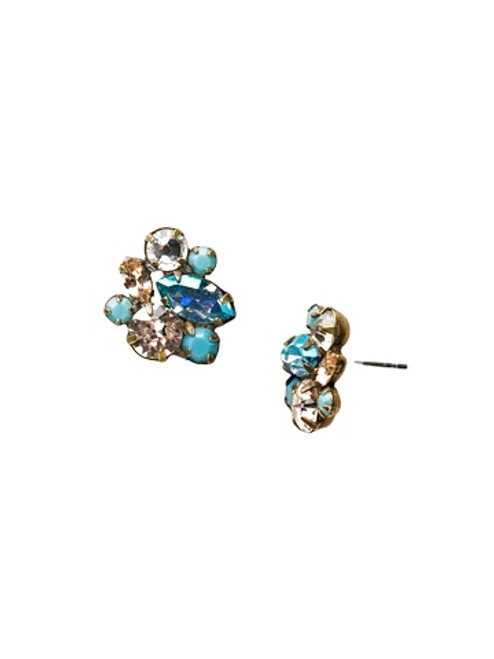 Sorrelli Azure Allure- Marquise and Circle Mixed Cluster Post Earrings~ ECR120AGAZ