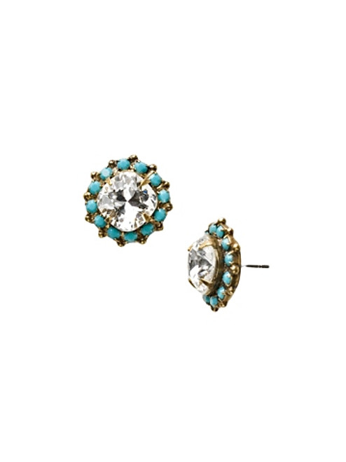 Sorrelli Azure Allure- Crystal Border Stud Earrings~ ECG35AGAZ