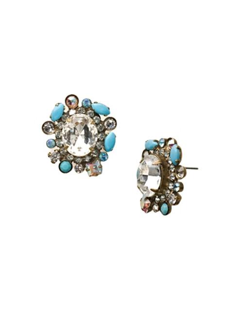 Sorrelli Azure Allure- Encircled Oval Cluster Post Earrings~ EBN48AGAZ
