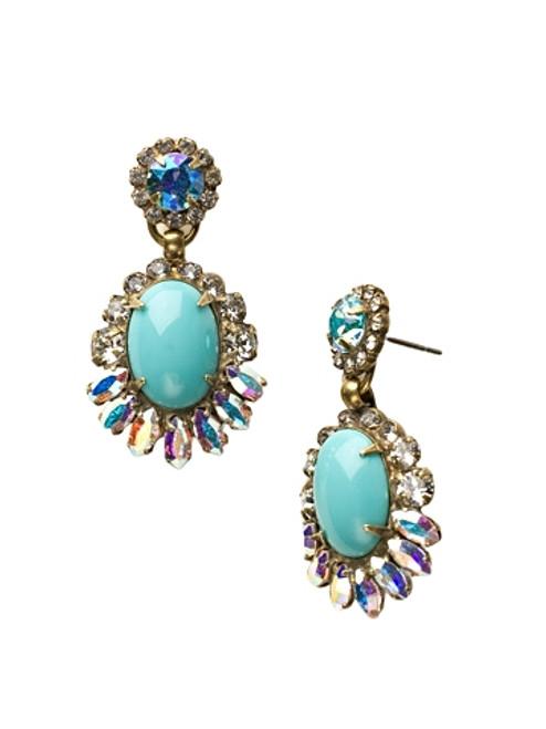 Sorrelli Azure Allure- Feathered Oval Post Drop Earrings~ ECU34AGAZ