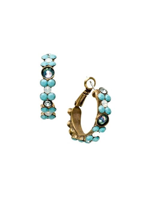 Sorrelli Azure Allure- Floral Hoop Hoop Earrings~ EBP15AGAZ