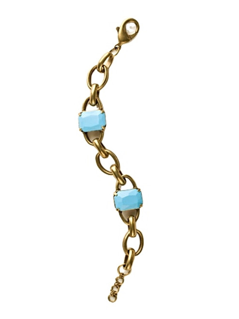 Sorrelli Azure Allure- Chain Link and Emerald Cut Line Bracelet~ BCU14AGAZ