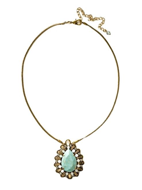 Sorrelli Azure Allure- Scalloped Pronounced Teardrop Pendant Necklace~ NCU6AGAZ