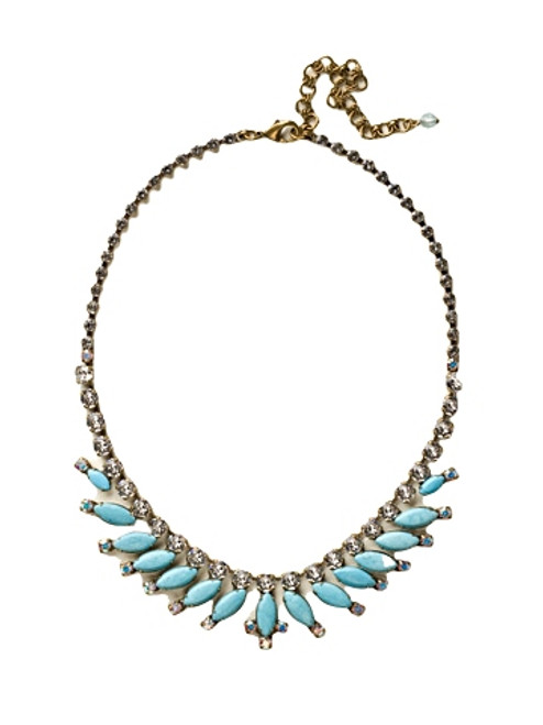 Sorrelli Azure Allure- Feathered Navette Motif Line Necklace~ NCU18AGAZ