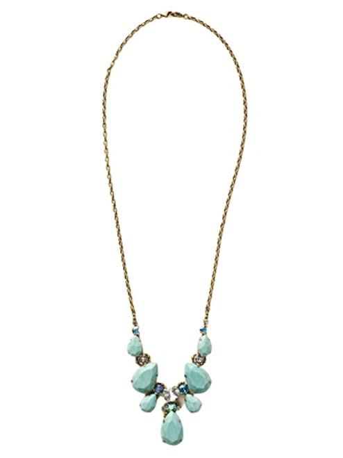 Sorrelli Azure Allure-Teardrop Triangle Bib Necklace~ NCR77AGAZ