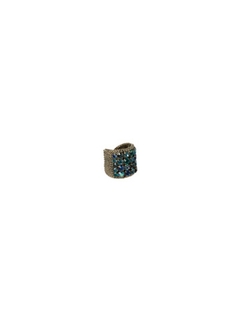 Sorrelli Electric Blue-Circle Stud Crystal Band Ring ~ RCC3ASEB