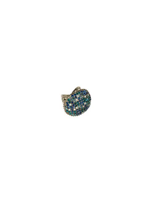 Sorrelli Electric Blue-Oversized Pave Circle Ring ~ RCG19ASEB