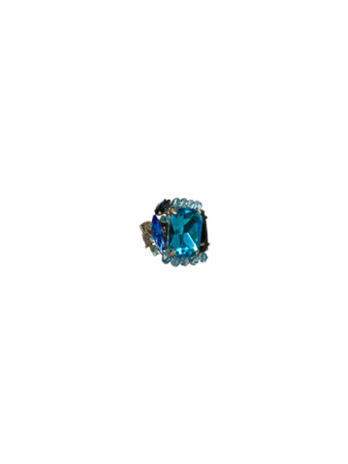 Sorrelli Electric Blue-Luxe Crystal Assembly Ring ~ RCE1ASEB