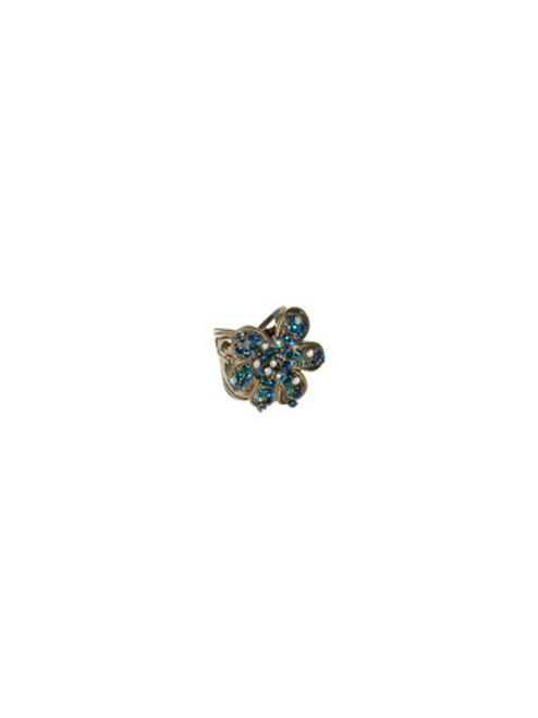 Sorrelli Electric Blue-Retro Crystal Flower Ring ~ RCG15ASEB