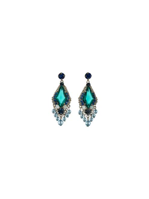 Sorrelli Electric Blue- Falling for Fringe Crystal Drop Earrings~ ECG64ASEB