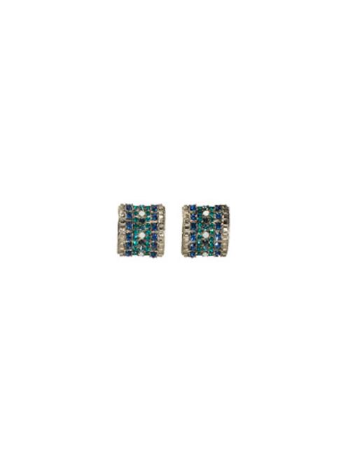 Sorrelli Electric Blue- Multi Row Crystal Post Earrings~ ECG34ASEB
