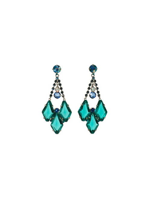 Sorrelli Electric Blue-Fit for a Queen Crystal Chandelier Earrings~ ECG61ASEB