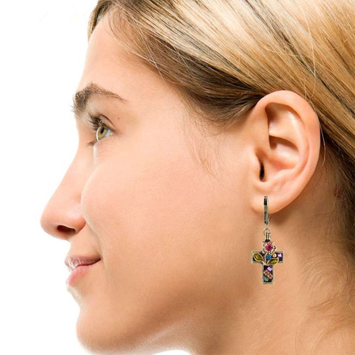 Michal Golan Midnight Garden Cross Earrings-S1911