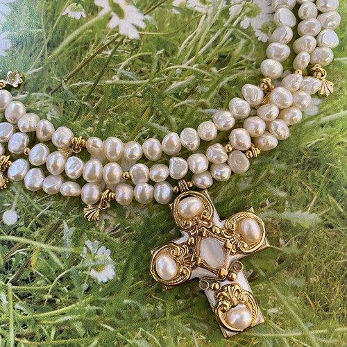 Michal Golan Gold & Pearl Crystal Beaded Cross Necklace-N1931