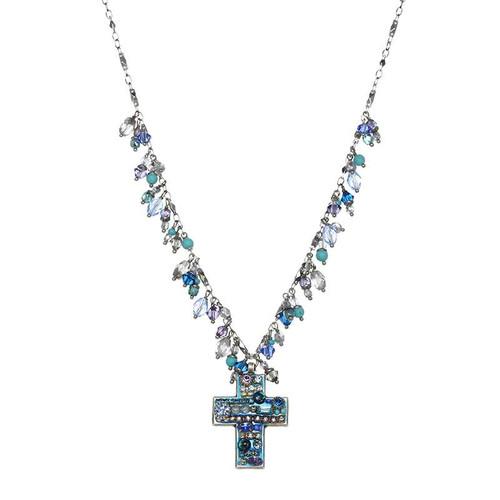 Michal Golan Aqua Crystal Cross Necklace-SA-305