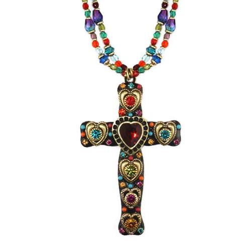 Michal Golan Multi Heart Cross Necklace~N2815